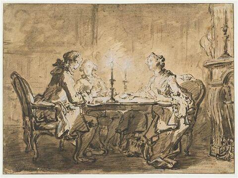 Deux gentilshommes et une dame jouant aux cartes