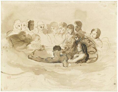 Personnages dans une barque en mer