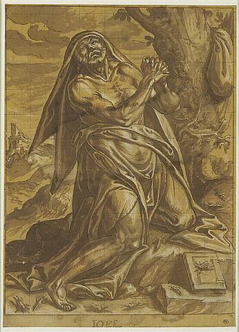 Figure du prophète Joël agenouillé, les mains jointes