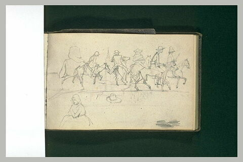 File de cavaliers, et femmes assises