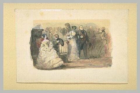Une réception : divers invités, au centre, un couple fait son entrée