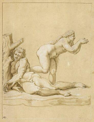 Figures d'Adam et d'Eve dans la Création d'Eve
