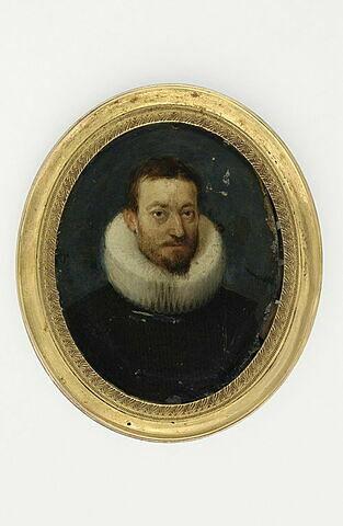 Portrait d'homme, en buste, de face, avec une collerette blanche