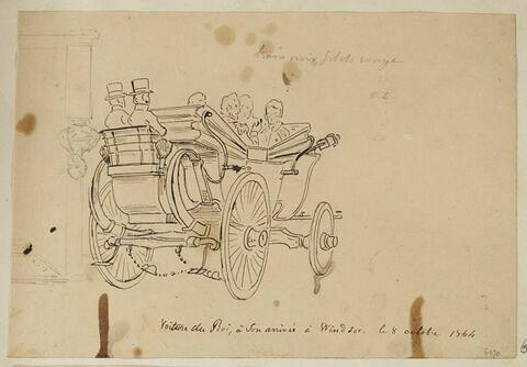 Voiture du roi, à son arrivée à Windsor, le 8 octobre 1844
