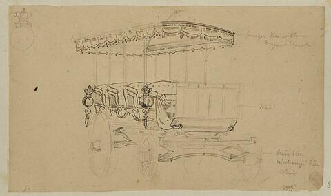 Croquis du char-à-bancs offert par le roi Louis-Philippe à la reine Victoria