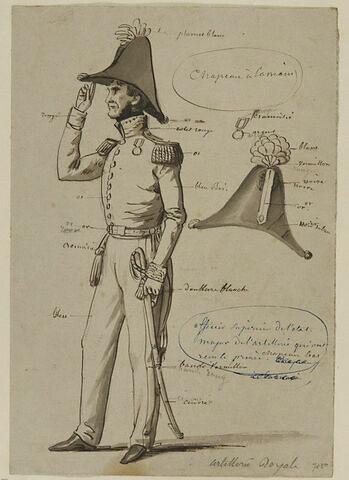 Officier supérieur de l'état-major de l'artillerie anglaise ; bicorne