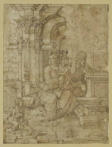 La Sainte Famille parmi des ruines avec saint Jean-Baptiste