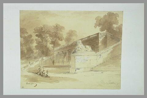 Vue de la grande cascade du parc du château de Vaux-le-Vicomte