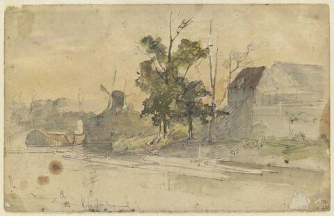 Un canal en Hollande, bordé d'arbres et de maisons