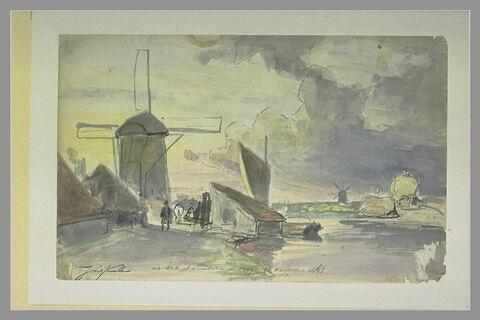 Canal bordé de moulins à vent, avec des personnages et des barques
