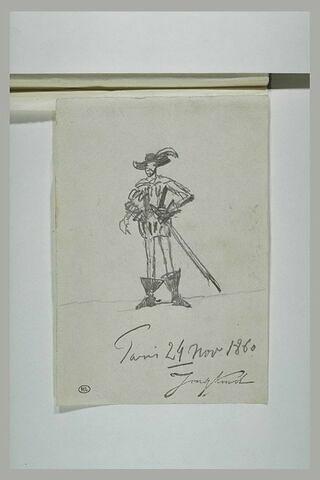 Homme, en costume Louis XIII, chaussé de bottes à entonnoir