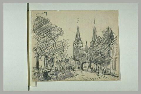 A Delft, porte de ville avec deux tours et canal
