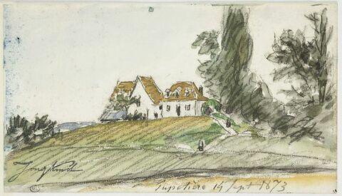 Paysage avec maisons au sommet d'un monticule