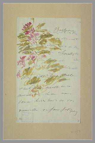 Fleurs et feuillage décorant une lettre à Isabelle Lemonnier