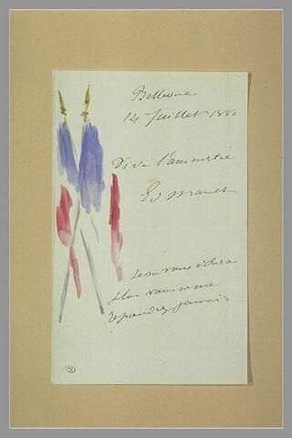 Deux drapeaux français décorant une lettre à Isabelle Lemonnier