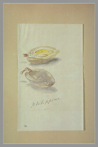 Deux moitiés d'amande décorant une pièce autographe