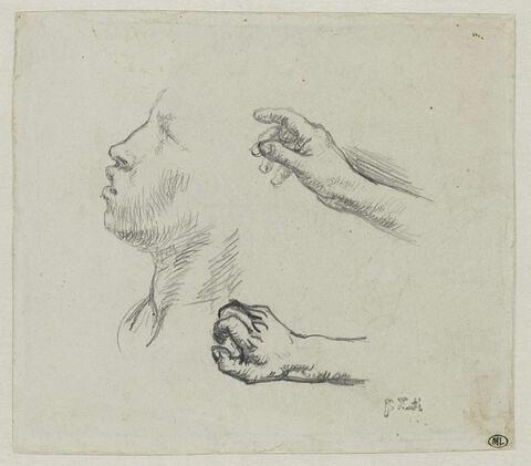 Visage de profil, et deux mains