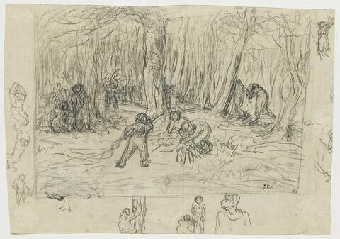 Le Petit Poucet et ses frères ramassant des branches
