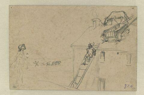 Homme s'étonnant d'une vache paissant sur le toit d'une maison