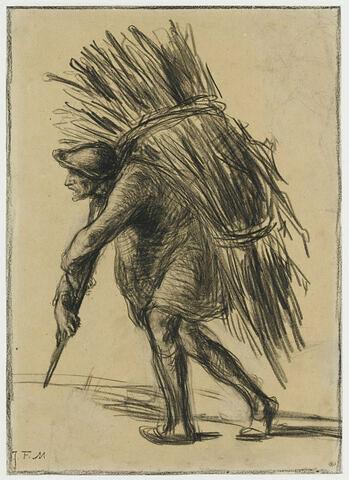 Homme portant un énorme fagot, ou le vieux bûcheron