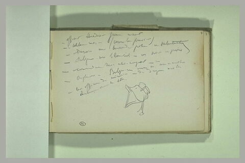Notes manuscrites ; selle