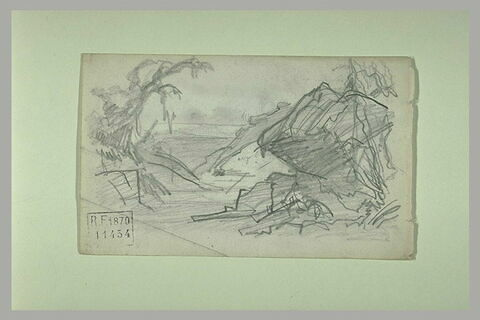 Paysage avec monticule et arbres et deux figures au premier plan