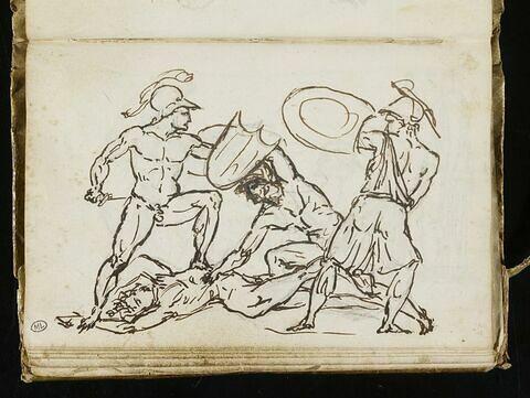 Quatre guerriers combattant (deux couples de gladiateurs ?)