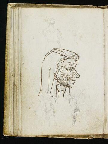 Tête de vieille femme italienne de profil à droite ; croquis