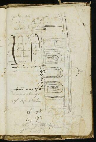 Notes manuscrites, croquis d'architecture