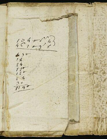 Notes manuscrites : calculs