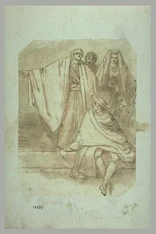 Trois figures debout et une figure assise