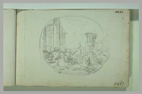 Figures devant un édifice à colonnes, dans un encadrement ovale