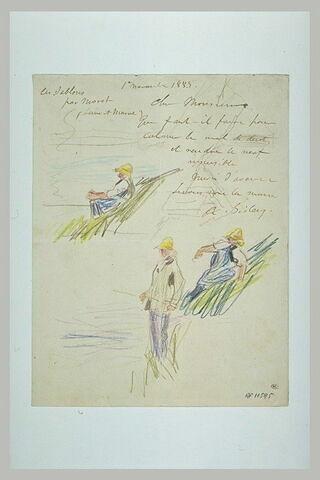 1er nov. 1883, Les Sablons, par Moret à X ; croquis de pêcheurs à la ligne