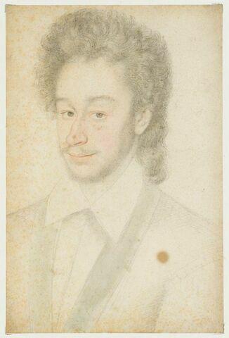 Portrait d'homme en buste, à chevelure longue et bouclée
