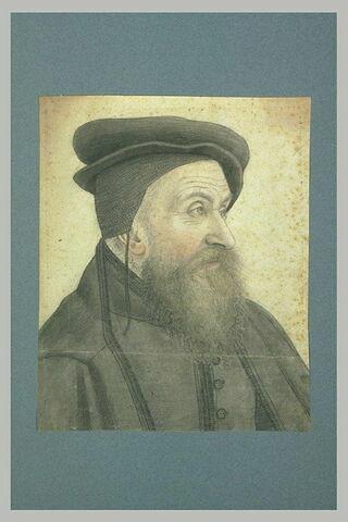 Portrait d'homme âgé, en buste, coiffé d'une toque : Charles Estienne