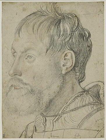 Tête d'homme, cheveux en désordre, de trois quarts à gauche