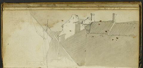 Bâtiments et esquisse d'une embarcation