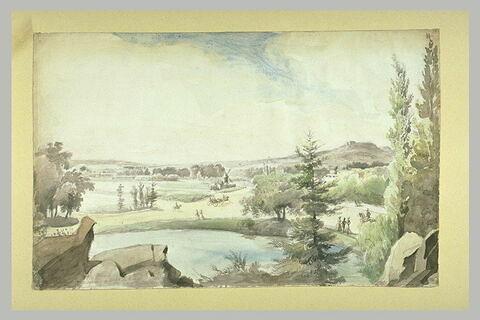 Vue du bois de Boulogne avec la grande cascade, le Mont-Valérien, Longchamp