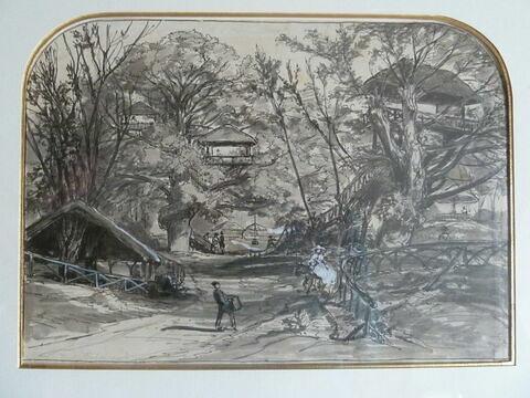 Vue du parc de Robinson avec ses attractions foraines, sous de grands arbres