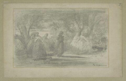 Femmes formant une ronde sous des arbres