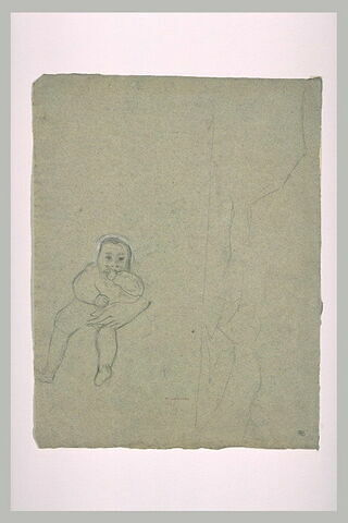 Croquis sommaire de montagnes, et enfant assis suçant son pouce