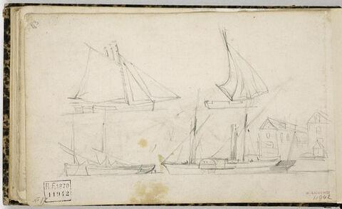 Feuille d'études de navires à voiles et un à vapeur