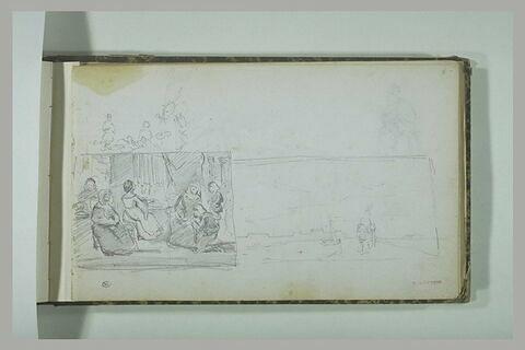 Etude de figures ; composition dans un intérieur ; paysage