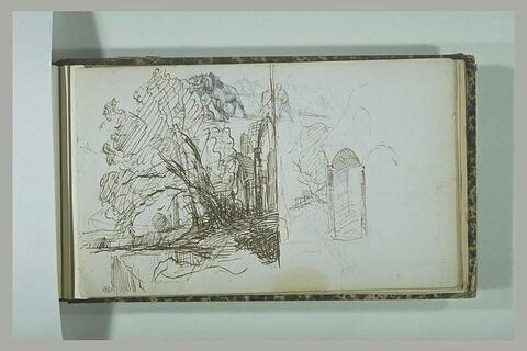 Paysage avec de grands arbres ; chevaux de labour ; arcades ogivales