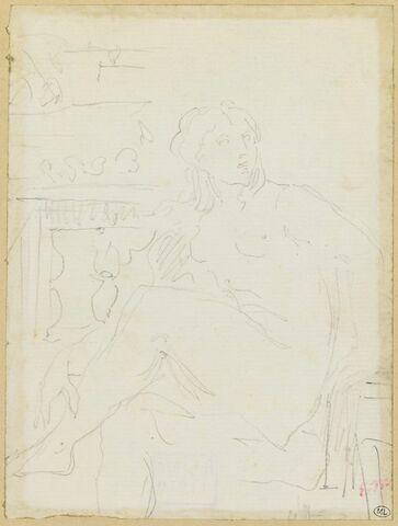 Femme nue, assise, de trois quarts à gauche, les jambes croisées