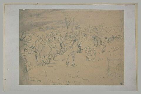 Cavaliers en costume de chasse traversant un petit vallon
