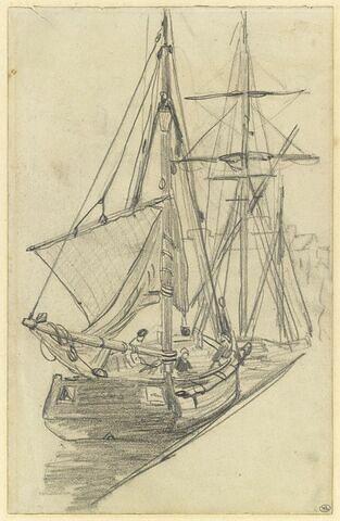 Deux barques de pêche, voiles tombées, amarrées à un quai.