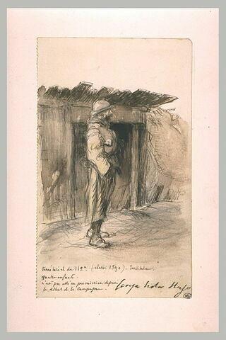 Soldat dans une tranchée avec ouverture d'un abri