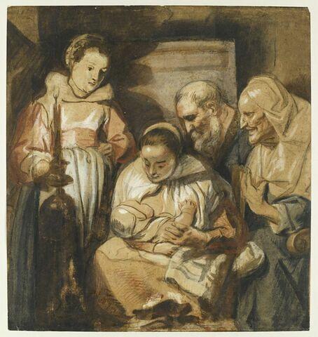 La Sainte Famille, avec sainte Anne (?) et une servante