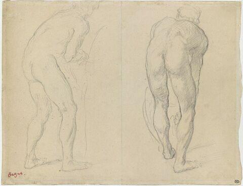 Deux hommes nus, de dos, penchés en avant